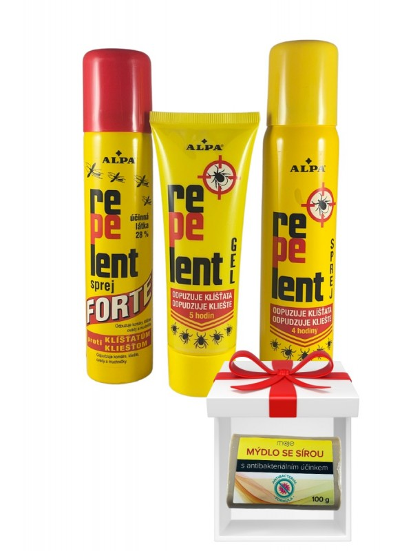 ALPA Repelent gel 75ml+sprej 90ml+sprej Forte 90ml+mydlo gratis