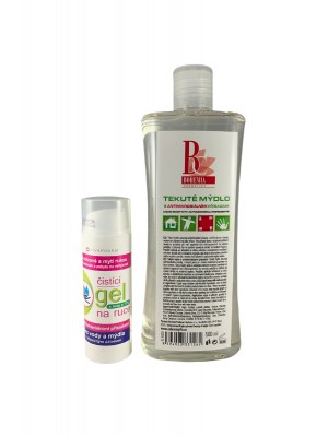 VIVACO čistiaci gel na ruky 50ml + tekuté mydlo 500ml