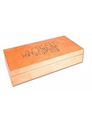 """Drevená krabica """"Sloni"""" plná 10x10 (93089)"""