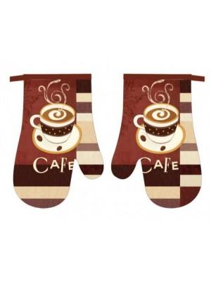 Kuchynské rukavice s magnetom 2set -cafe